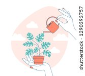 woman hand holding a watering... | Shutterstock .eps vector #1290393757