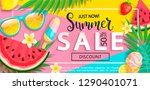 summer sale banner with symbols ...   Shutterstock .eps vector #1290401071