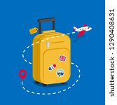travel bag with stickers.... | Shutterstock .eps vector #1290408631