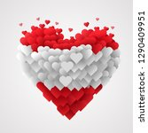 large group of hearts in the... | Shutterstock .eps vector #1290409951