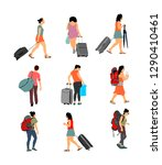 passenger woman with luggage... | Shutterstock .eps vector #1290410461