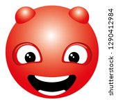 red smiling face with horns... | Shutterstock .eps vector #1290412984