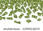 banknotes rain vector... | Shutterstock .eps vector #1290413674