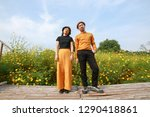 couple asian man and woman with ... | Shutterstock . vector #1290418861