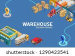 warehouse interior and exterior ...   Shutterstock .eps vector #1290423541