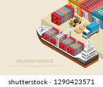 large freight ship loaded with... | Shutterstock .eps vector #1290423571