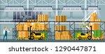 modern warehouse indoor space...   Shutterstock .eps vector #1290447871