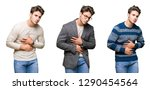 collage of young handsome... | Shutterstock . vector #1290454564