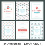 happy birthday cards design set ... | Shutterstock .eps vector #1290473074