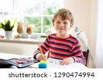 happy smiling little kid boy at ... | Shutterstock . vector #1290474994