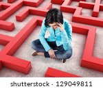 sad girl sits in a labyrinth... | Shutterstock . vector #129049811
