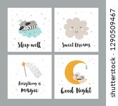 vector set of four night cards... | Shutterstock .eps vector #1290509467
