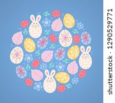easter greeting card with bunny ... | Shutterstock .eps vector #1290529771