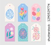 easter gift tags with eggs ... | Shutterstock .eps vector #1290529774