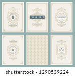 vintage ornament greeting cards ... | Shutterstock .eps vector #1290539224