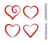 vector set with stylized hearts.... | Shutterstock .eps vector #1290539251