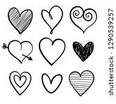 vector set of hand drawn hearts ... | Shutterstock .eps vector #1290539257