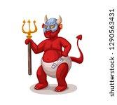 cartoon devil on white   Shutterstock .eps vector #1290563431