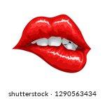 female lips bite | Shutterstock .eps vector #1290563434