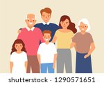 portrait of happy family with... | Shutterstock .eps vector #1290571651