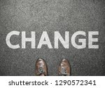 businessman shoes step to word... | Shutterstock . vector #1290572341