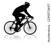 silhouette of a cyclist male on ... | Shutterstock .eps vector #1290573697