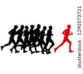 set of silhouettes. runners on... | Shutterstock .eps vector #1290573721