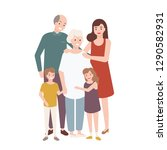 happy family with grandfather ... | Shutterstock .eps vector #1290582931