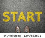 businessman shoes step to word... | Shutterstock . vector #1290583531