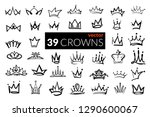 set of iconic hand drawn crowns.... | Shutterstock .eps vector #1290600067