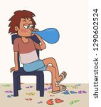 kid unsuccessfully blowing... | Shutterstock .eps vector #1290602524