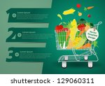shopping cart with fruits and... | Shutterstock .eps vector #129060311