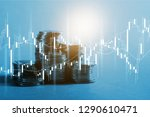 market trading graph and coins | Shutterstock . vector #1290610471