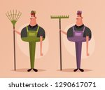 worker with rake. cartoon style.... | Shutterstock .eps vector #1290617071