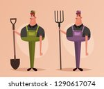 worker holding pitchfork and... | Shutterstock .eps vector #1290617074
