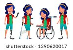asian girl kid poses set vector.... | Shutterstock .eps vector #1290620017