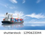 cargo ship carrying container... | Shutterstock . vector #1290623344