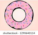 donut with pink glaze. donut... | Shutterstock .eps vector #1290640114