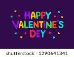 happy valentine's day lettering ... | Shutterstock . vector #1290641341