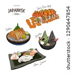 Set Of Japanese Food  Hand Dra...