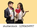 young couple in valentines day... | Shutterstock . vector #1290654997