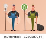 funny character. janitor with... | Shutterstock .eps vector #1290687754