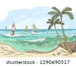 sea windsurfing graphic color... | Shutterstock .eps vector #1290690517