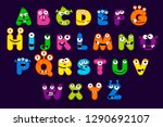 cartoon alphabet font  monster...