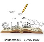 book of fantasy stories ... | Shutterstock . vector #129071039