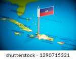 haiti marked with a flag on the ... | Shutterstock . vector #1290715321