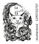 girl hugging pet cat. vector... | Shutterstock .eps vector #1290732757