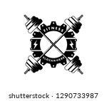 crossed barbel fitness gym... | Shutterstock .eps vector #1290733987