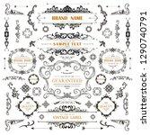 set of vintage decorations... | Shutterstock .eps vector #1290740791