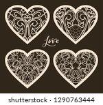 set of 4  valentine card or...   Shutterstock .eps vector #1290763444